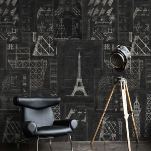 Ταπετσαρία Grand Eiffel Anthracite WP20218 White-Anthracite MindTheGap