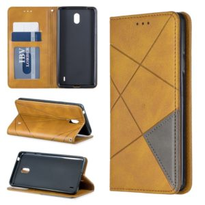 Rhombus Texture Horizontal Flip Magnetic Leather Case with Holder & Card Slots & Wallet For Nokia 1 Plus(Yellow)