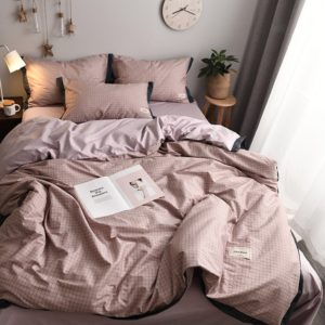 Fashionable Household Cotton Bedding, Specification:1.5 or 1.8M Bed (Four-piece Set)(Ge Yun-Pink)