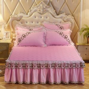 Luxury Thick Cotton Bed Skirt with Lace Edge Non-slip Bedding Set, Size:1.8x2.2m(3-Piece)(Pink)