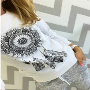 Ethnic Style Pattern Printing Round Neck Long-sleeved T-shirt, Size: M(White)
