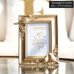 Elegant Bird Decor Picture Frame Royal Style Home Decoration, Color:Rectangle 6 inch