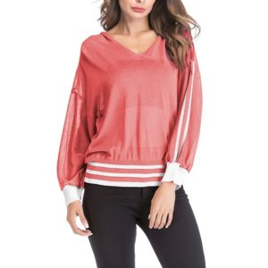 Long-sleeved Loose Hooded Sweater (Color:Red Size:M)