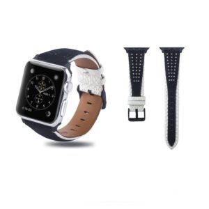 Round Hole Top-grain Leather Wrist Watch Band for Apple Watch Series 5 & 4 44mm / 3 & 2 & 1 42mm