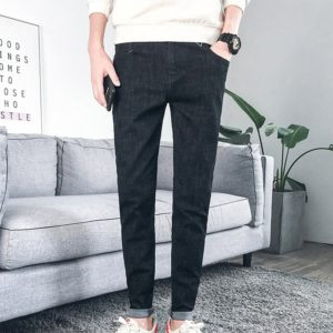 Spring and Autumn Models Simple and Versatile Stretch Men Washed Casual Feet HarlanJeans, Size: 27(Black )