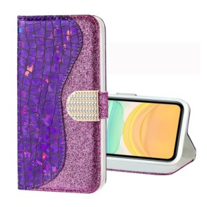 For iPhone 11 Laser Glitter Powder Crocodile Texture Horizontal Flip Leather Case, with Holder & Card Slots & Wallet(Purple)