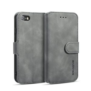 DG.MING Retro Oil Side Horizontal Flip Case with Holder & Card Slots & Wallet for iPhone 7 / 8(Grey) (DG.MING)