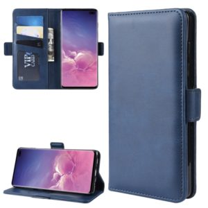 For Galaxy S10 Plus Double Buckle Crazy Horse Business Mobile Phone Holster with Card Wallet Bracket Function(Blue)