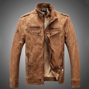 Men Plus Velvet Loose Leather Jacket Coat (Color:Brown Size:M)