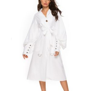 Ladies Fall Dress Large Sleeve Dress (Color:White Size:S)