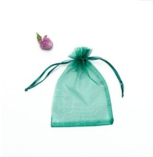 100 PCS Gift Bags Jewelry Organza Bag Wedding Birthday Party Drawable Pouches, Gift Bag Size:13X18cm(Blackish Green)