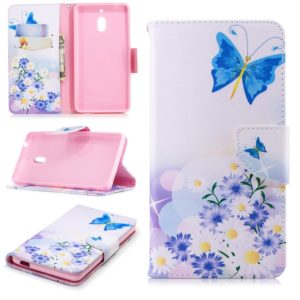 Colored Drawing Pattern Horizontal Flip Leather Case for Nokia2.1,with Holder & Card Slots & Wallet(Butterfly Love)