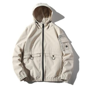 Hooded Loose Casual Jacket Print Tooling Jacket for Men (Color:Beige Size:XXL)