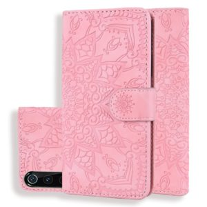 Calf Pattern Double Folding Design Embossed Leather Case with Wallet & Holder & Card Slots for Xiaomi Mi 9(Pink)