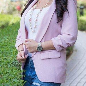 Women Solid Color Buckleless Slim Casual Suit (Color:Pink Size:XL)