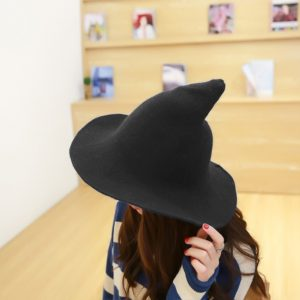 Halloween Personality Wizard Steeple Great Brim Wool Cap(Black)