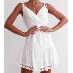 Halter Tassel Strap Dress (Color:White Size:M)
