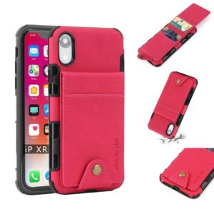For iPhone XR Cloth Texture + TPU Shockproof Protective Case with Vertical Flip Card Slots(Rose Red)