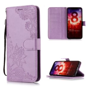 Vintage Embossed Floral Lace Flower Pattern Horizontal Flip Leather Case for Xiaomi Mi 8, with Card Slot & Holder & Wallet & Lanyard (Purple)