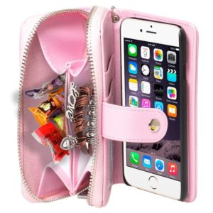 2 in 1 Separable Zipper Wallet Leather Case with Lanyard for iPhone 6 Plus & 6S Plus(Pink)