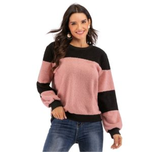 Stitched Contrast Plush Top (Color:Pink Size:L)