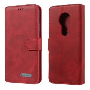 For Motorola Moto G6 Play Solid Color Buckle Horizontal Flip Leather Case with Wallet & Holder & Card Slots(Red)