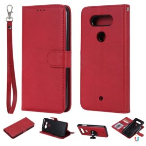 For LG G8 ThinQ Solid Color Horizontal Flip Protective Case with Holder & Card Slots & Wallet & Photo Frame & Lanyard(Red)