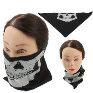 Motorcycle Cycling Sport Skull Half Face Mask(Black)