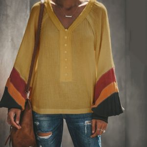 Solid Color Button Long Sleeve Trumpet Sleeves Loose V-neck T-shirt (Color:Yellow Size:M)