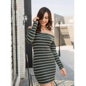 Off-the-shoulder Long Sleeve Stripes Dress (Color:Green Size:S)