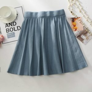 Autumn and Winter Knitted Pleated Elastic Waist Skirt, Size: One Size( Blue )