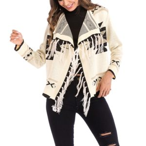 Fringe Wild Jersey Cardigan Coat (Color:Apricot Size:XL)