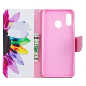 Colored Drawing Pattern Horizontal Flip Leather Case for Samsung Galaxy A20&A30,with Holder & Card Slots & Wallet(Sunflower)