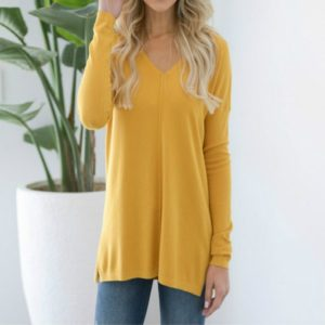 Casual Loose V-neck Solid Color Long-sleeved T-shirt, Size: XL(Yellow)