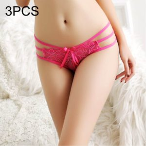 3 PCS FunAdd Women Sexy Low-waisted Transparent Three Cord Jacquard Weave Lace Enticing Thongs Panties, Free Size(Magenta) (FunAdd)