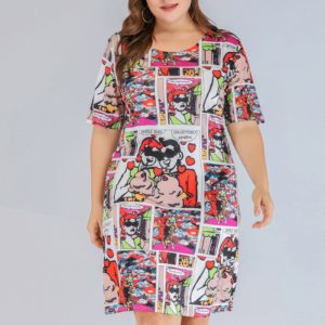 Large Size Women s Knit Printed Dress (Color:As Show Size:XL)