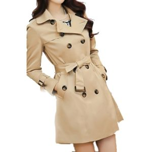 Mid-length Slim Casual Lace-up Trench Windbeaker (Color:Khaki Size:S)