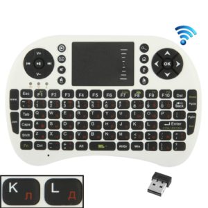 UKB-500-RF 2.4GHz Mini Wireless Keyboard Mouse Combo with Touchpad & USB Receiver, English Keyboard / Russian Keyboard(White)
