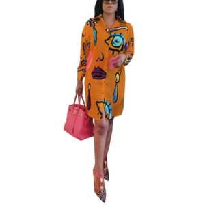 Women Dress Casual Printed Loose Long Sleeve Blouse, Size:S(Orange)