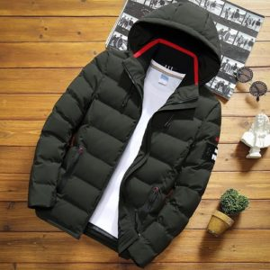 Winter Men Solid Color Short Jacket Slim Warm Hooded Cotton Clothing Casual Youth Down Jacket, Size: XXXL(Army Green)