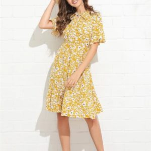 Small Fresh Floral Women Dress (Color:Yellow Size:L)