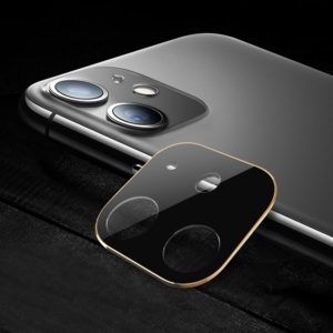 Titanium Alloy Camera Lens Protector Tempered Glass Film for iPhone 11 (Gold)