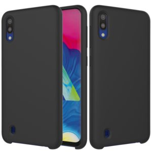 Solid Color Liquid Silicone Shockproof Full Coverage Case for Galaxy M10(Black)