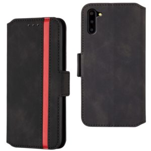 For Galaxy Note10 Retro Frosted Oil Side Horizontal Flip Case with Holder & Card Slots(Black)