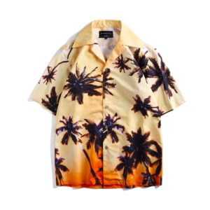 Summer Vacation Leisure Beach Sunset Glow Coconut Grove Printing Short Sleeve Couple Shirt, Size: L(As Show)