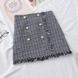 Women Plaid Tassel A-line Skirt, Size: L(Blue)