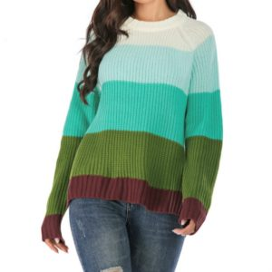 Round Neck Pullover Striped Color Sweater, Size: XL(Green Stripe)