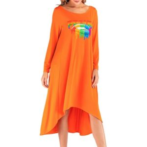 Sexy Loose Lips Letters Print Large Swing Dress (Color:Orange Size:XXXL)