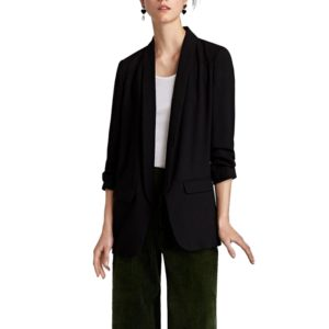 Women Solid Color Buckleless Slim Casual Suit (Color:Black Size:S)