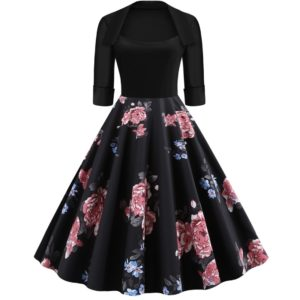 Sleeve Fashion Personality Printing Lapel Big Swing Dress (Color:Black Size:XL)